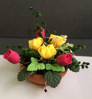 Pink Tulips & Yellow Roses in a Terracotta Pot