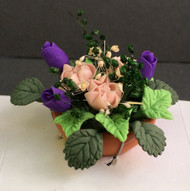 Purple Tulips & Pink Roses in a Terracotta Pot