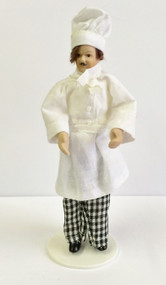 Porcelain Chef Doll With Stand Included