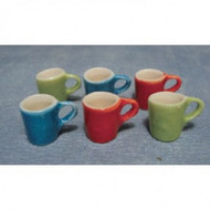 6 Modern Coloured Mugs