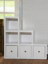 White Modern Shelf Unit With Drawers, Right side