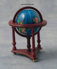 Globe In Mahogany Frame On Casters