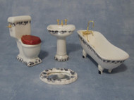 4 Piece Ceramic Bathroom Set Blue & White Design