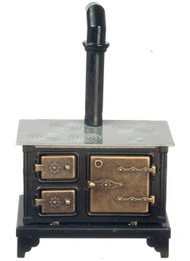 Metal Stove With Brass Effect Doors & Silver Top