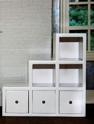 White Modern Shelf Unit With Drawers, Left Side