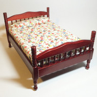 Mahogany Double Bed Floral Mattress