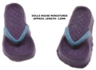 Lilac/ Blue Pair Of Tiny Flip Flops 1:24 Scale