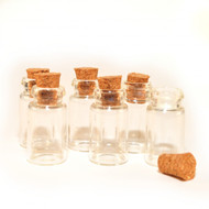6 Empty Glass Jars With Corked Stoppers