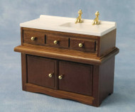 Wooden Sink Unit With White Sink & Gold Taps