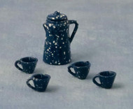 Blue Speckle Coffee Pot, Four Cups