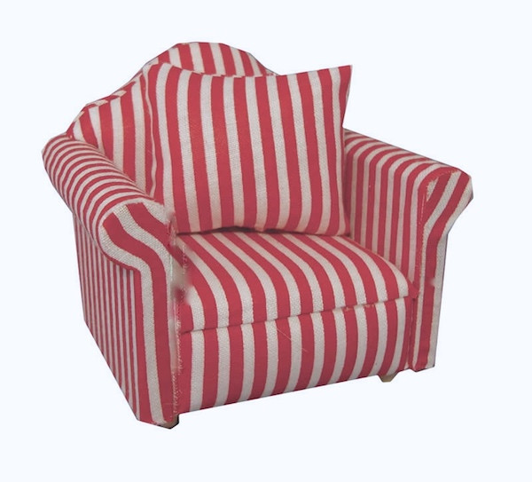 Red & White Striped Sofa Chair