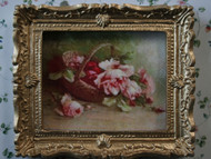 Roses In Basket Picture In Ornate Golden Frame