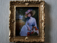 Lady In Hat Picture In Ornate Golden Frame