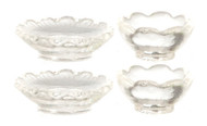 Set Of 2 Clear Bowls & 2 Clear Plates