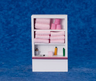 Bathroom Closet / Shelving With Fixed Pink Towels