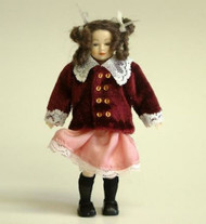 Heidi Ott Doll Young Girl Burgundy Velvet Jacket