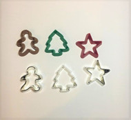 6 Cookie Cutters - 3 Metal - 3 Coloured Plastic