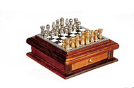 Walnut Chessboard With Drawer & Pieces