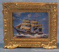 Ornate Framed Ship Picture