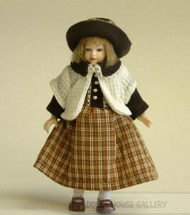Heidi Ott Doll Young Girl In Brown & Cream Dress With Hat