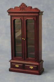 Mahogany Book Cabinet With Opening Drawers & Doors