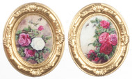 2 Oval Gold Framed Pictures Of Flowers