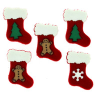5 Christmas Stockings Buttons