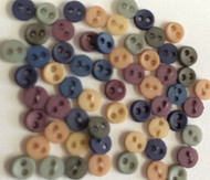 50 Sew Through Buttons Romance Design 3mm Assorted Colours