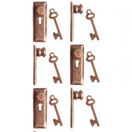 24th Scale Door Knob & Plate With Keys 6 Pack Bronze