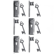 24th Scale Door Knob & Plate With Keys 6 Pack Pewter