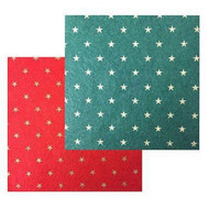 2 Pieces Of Felt Star Print, 1 Green 1 Red.