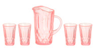 Pink Pitcher & Four Glasses