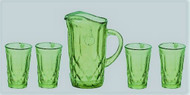 Green Pitcher & Four Glasses