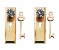Golden Door Plates With Crystal Handles & Keys