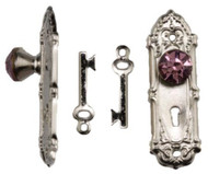 Purple Crystal Door Knobs With Keys