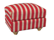Red & White Cushioned Footstool