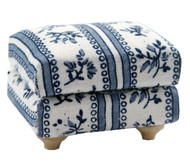 Blue & White Flower Patterned Cushioned Footstool