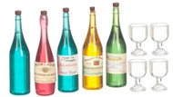Wine, Champagne, Spirit Bottles With Glasses