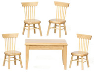 Bare Wood Table & Four Chairs