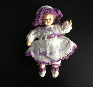 Heidi Ott Girl Doll In Handmade Knitted Purple & White Outfit