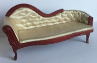 Chaise Long In Mahogany With Cream Upholstery