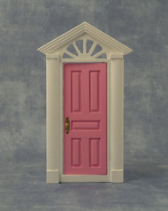 Painted Skylight Front Door Featuring White Surround & Pink Door