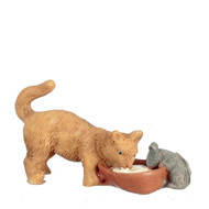 Cat & Mouse Drinking Milk From A Bowl