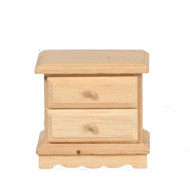 Bare Wood Bedside Cabinet With Two Opening Drawers