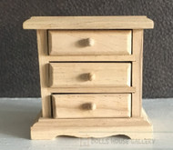 Bare Wood Bedside Cabinet With Three Opening Drawers
