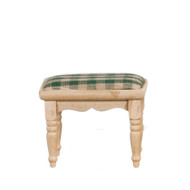 Unfinished Wooden Footstool / Green Cushioned