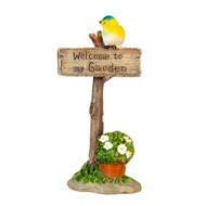 Welcome To My Garden Bird Flower Sign