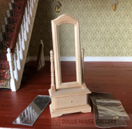 Bare Wood Cheval Mirror With Drawer