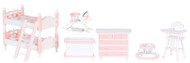 Girls Pink & White Nursery Furniture Set