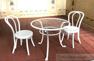 White Wire Table & Chair